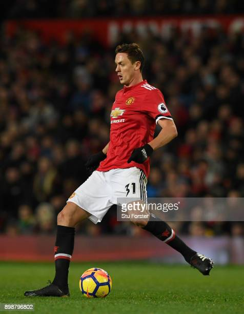 United player Nemanja Matic in action during the Premier League match between Manchester United and Burnley at Old Trafford on December 26 2017 in...