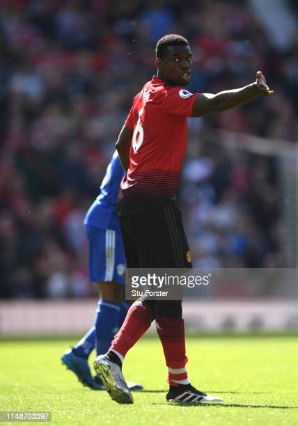 United player Paul Pogba reacts during the Premier League match between Manchester United and Cardiff City at Old Trafford on May 12 2019 in...