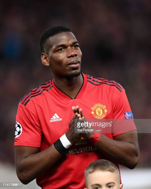 United player Paul Pogba reacts during the UEFA Champions League Quarter Final first leg match between Manchester United and FC Barcelona at Old...