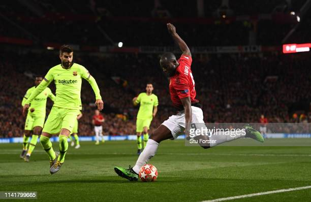United player Romelu Lukaku in action during the UEFA Champions League Quarter Final first leg match between Manchester United and FC Barcelona at...