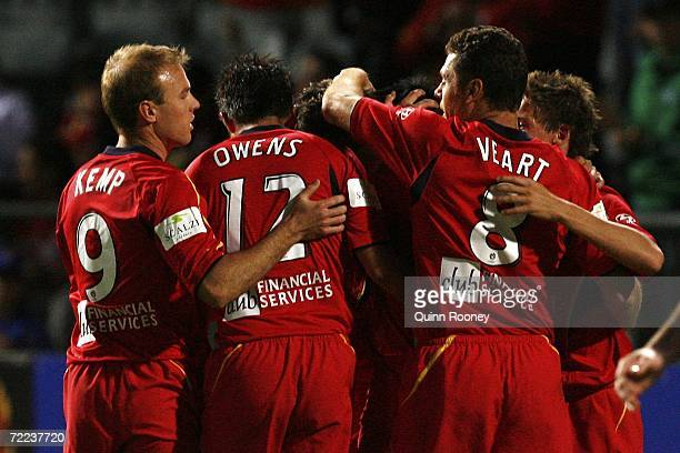 United players celebrate a goal during the round nine Hyundai ALeague match between Adelaide United and the New Zealand Knights at Hindmarsh Stadium...