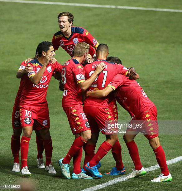 United players celebrate after Bruce Djite of United scored during the round 18 ALeague match between Adelaide United and Western Sydney Wanderers at...