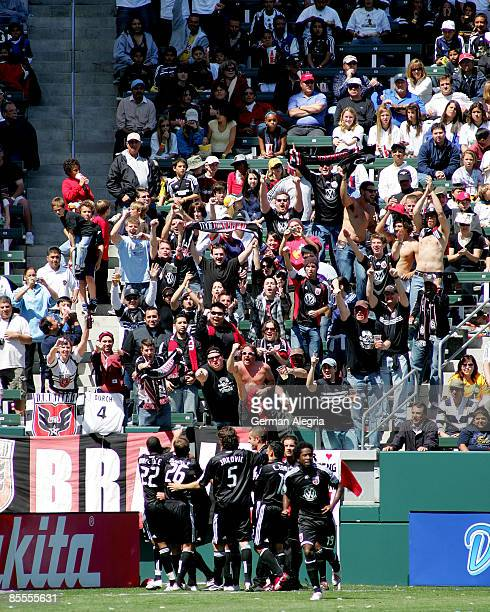 United players celebrate goal scored by Chris Pontius of DC United against the Los Angeles Galaxy during their MLS game at Home Depot Center on March...