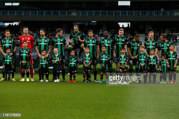 United players line-up ahead of the round eight A-League match between Western United and Sydney FC at GMHBA Stadium on December 01, 2019 in Geelong,...