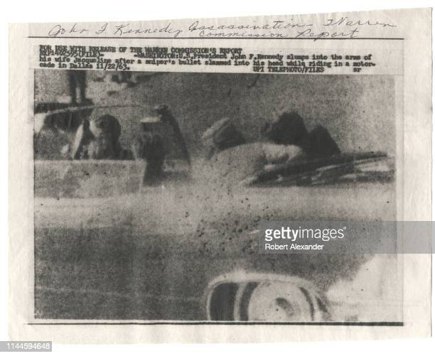 United Press International or UPI wire photo sent to newspapers and other media upon the November 23 1964 release of the Warren Commission report on...
