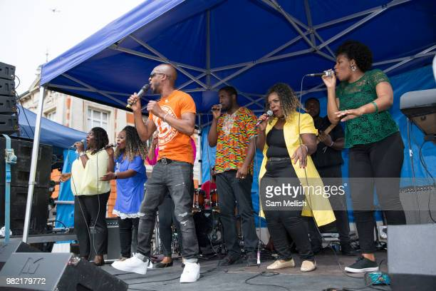 United Quest Choir play at Windrush Square to celebrate the 70th anniversary of the arrival of the passenger liner Empire Windrush and the men and...