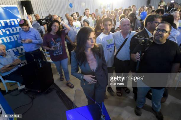 United Right party leader and former Israeli Justice Minister Ayelet Shaked attends an election campaign event launching the party's campaign ahead...