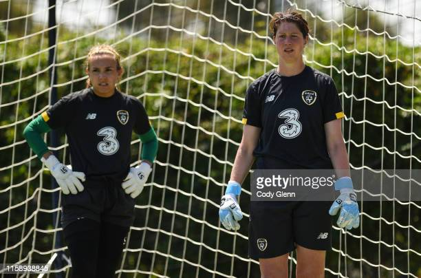 CALIFORNIA United States 1 August 2019 Republic of Ireland goalkeepers Marie Hourihan right and Grace Moloney during a team training session at...