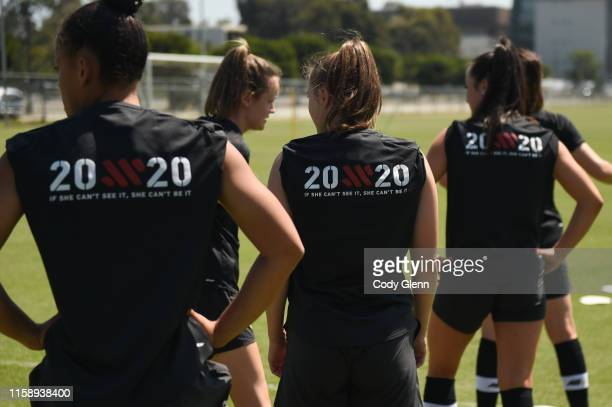 CALIFORNIA United States 1 August 2019 Republic of Ireland players wear a new logo reading 20x20 If She Can't See It She Cant Be It' on the back of...