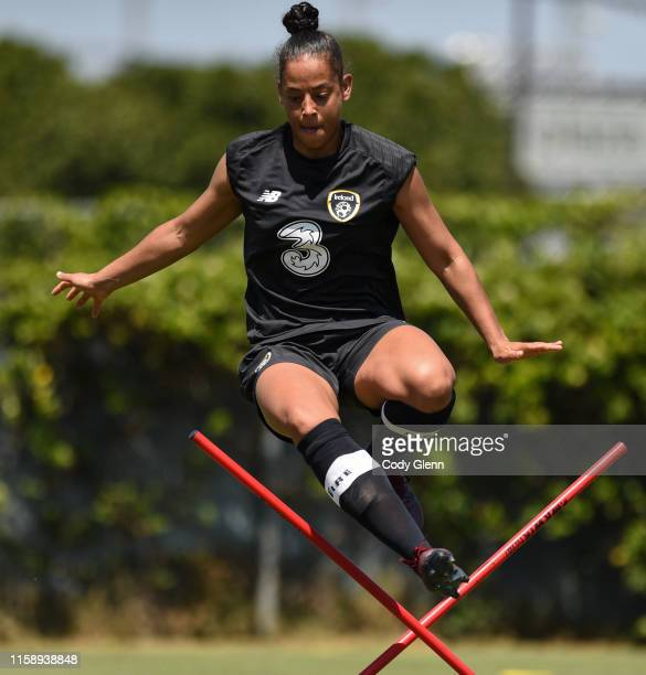 CALIFORNIA United States 1 August 2019 Rianna Garrett jumps an obstacle during a Republic of Ireland women's team training session at Dignity Health...
