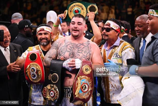 NEW YORK United States 1 June 2019 Andy Ruiz Jr celebrates after his IBF WBA WBO IBO World Heavyweight Championship fight with Anthony Joshua at...