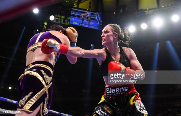 United States - 1 June 2019; Delfine Persoon, right, and Katie Taylor during their Undisputed Female World Lightweight Championship fight at Madison...
