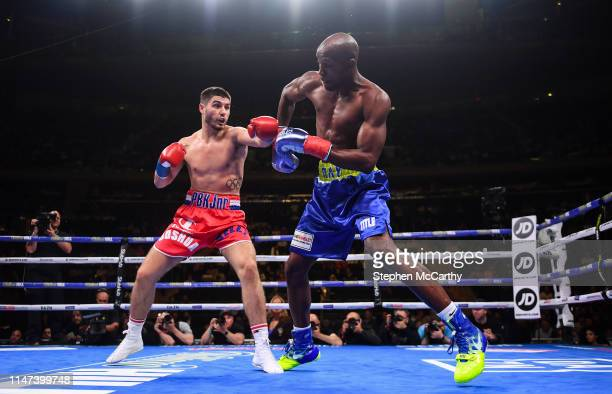 United States - 1 June 2019; Josh Kelly, left, and Ray Robinson during their International Welterweight Championship bout at Madison Square Garden in...