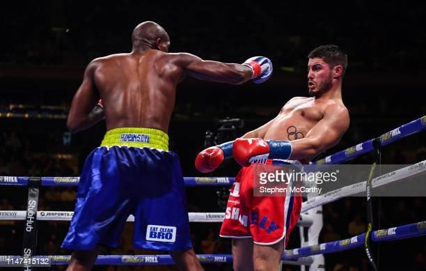 United States - 1 June 2019; Josh Kelly, right, and Ray Robinson during their International Welterweight Championship bout at Madison Square Garden...
