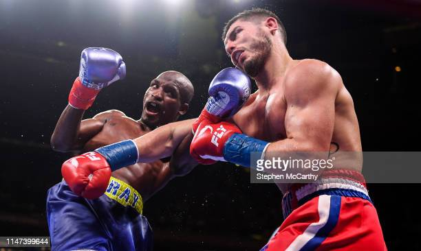 United States - 1 June 2019; Ray Robinson, left, and Josh Kelly during their International Welterweight Championship bout at Madison Square Garden in...