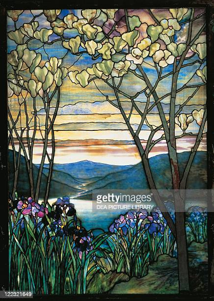 United States 20th century Art Nouveau Stained glass window with landscape ca 1905 Manufactured by Tiffany Studios New York