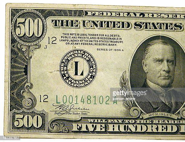 united states 500 dollar bill - circa 6th century stock photos and pictures