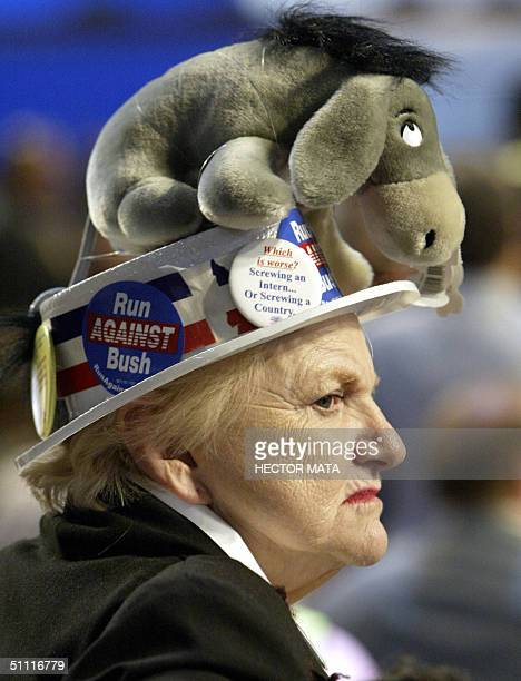 A hat sporting a stuffed donkey is worn by a convention delegate on the opening night of the Democratic National Convention at the FleetCenter 26...