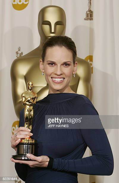 Actress Hilary Swank winner for Best Actress for her role in 'Million Dollar Baby' poses with her trophy at the Kodak Theater in Hollywood California...