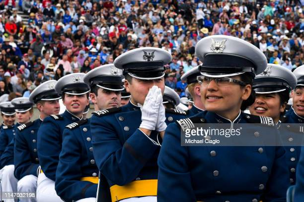 United States Air Force Academy cadets wait in anticipation to take their Oath of Office and graduate from the academy on May 30 2019 in Colorado...