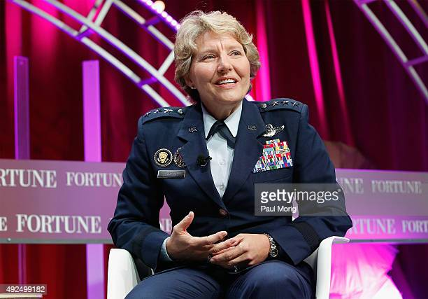 United States Air Force Academy Superintendent Lt Gen Michelle Johnson speaks onstage during Fortune's Most Powerful Women Summit Day 2 at the...