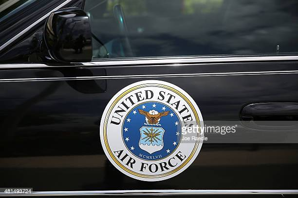 United States Air Force decal is seen on the hearse during the funeral for retired Air Force Lt Col Eldridge Williams at the Sweet Home Missionary...