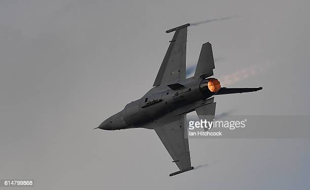 United States Air Force F16 fighter jet performs during the T150 Defence Force Air Show on October 15 2016 in Townsville Australia The Air Show forms...
