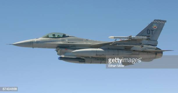 United States Air Force F16C Fighting Falcon participates in the Joint Expeditionary Force Experiment 2006 April 22 2006 in flight JEFX is a biannual...