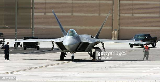 United States Air Force F22 Raptor is prepared for takeoff at Nellis Air Force Base while participating in the Joint Expeditionary Force Experiment...