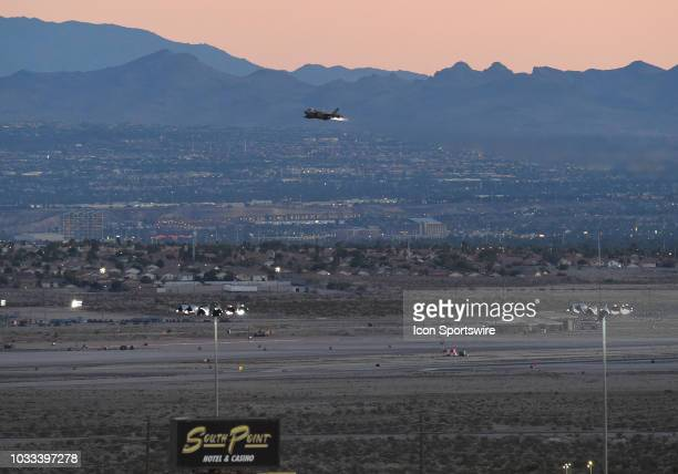 United States Air Force F35 fighter jet takes off with full afterburner from Nellis AFB during the NASCAR Camping World Truck Series Playoff Race...