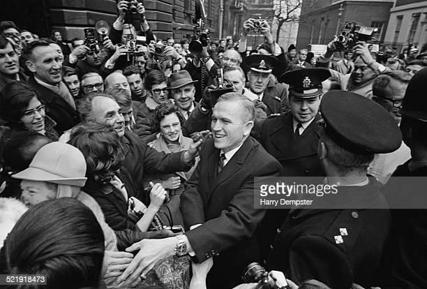 United States Air Force pilot aeronautical engineer and NASA astronaut Frank Borman visiting Prime Minister Harold Wilson at 10 Downing Street London...