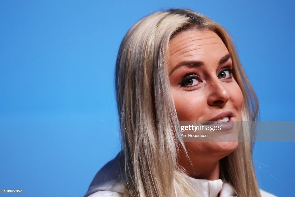 United States alpine skier Lindsey Vonn attends a press conference at the Main Press Centre during previews ahead of the PyeongChang 2018 Winter Olympic Games on February 9, 2018 in Pyeongchang-gun, South Korea.