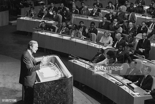 United States Ambassador George Bush warns the General Assembly about the dangers of expelling Nationalist China from the United Nations Albania...