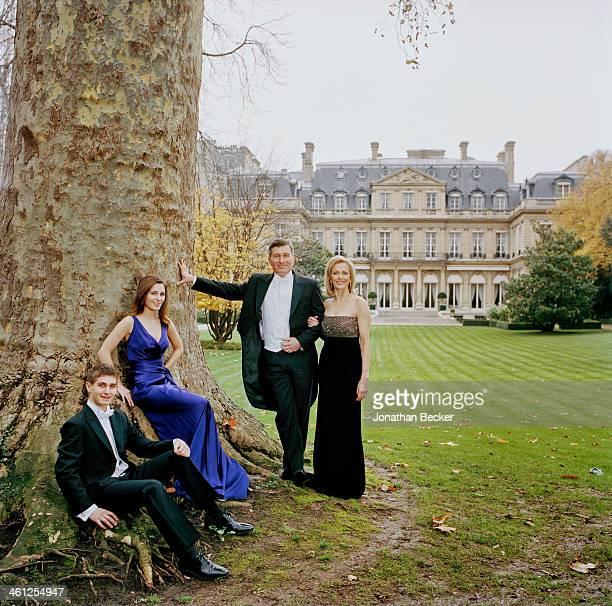 United States ambassador to France and Monaco Charles Rivkin and family are photographed for Town Country Magazine on November 24 2012 in Paris France