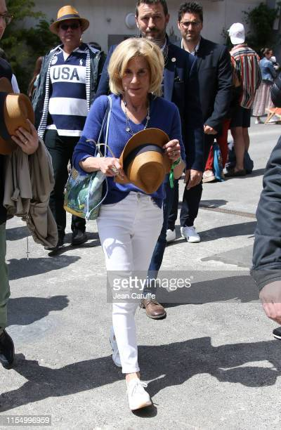 United States ambassador to France Jamie McCourt attends the men's final during day 15 of the 2019 French Open at Roland Garros stadium on June 9...