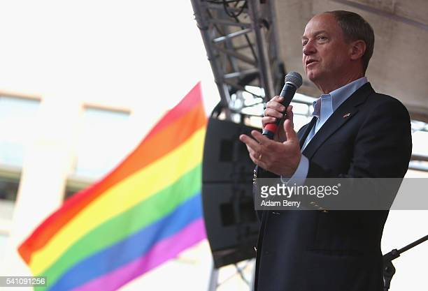 United States Ambassador to Germany John Emerson speaks during a vigil for victims of a shooting at a gay nightclub in Orlando Florida nearly a week...