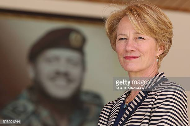 United States ambassador to Jordan Alice G Wells looks on as she attends the opening ceremony of the eighth Annual Warrior Competition held at the...