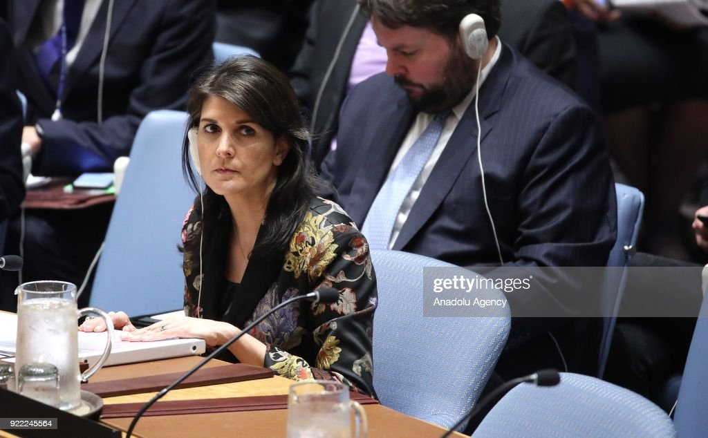 United States Ambassador to the UN Nikki Haley attends the United Nations Security Council meeting in New York, United States on February 21, 2018.