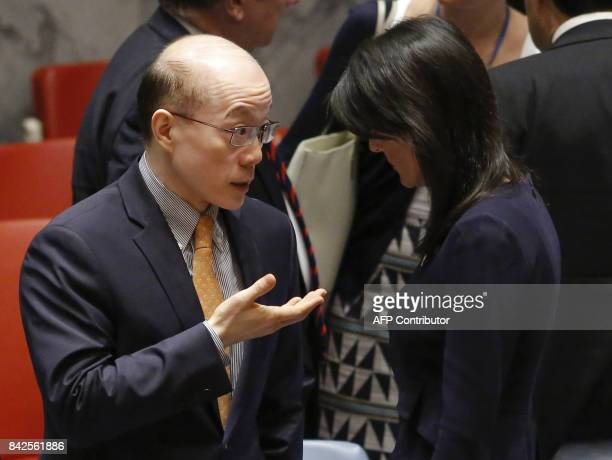 United States Ambassador to the UN Nikki Haley speaks with Chinese Ambassador to the UN Liu Jieyi after a UN Security Council emergency meeting over...