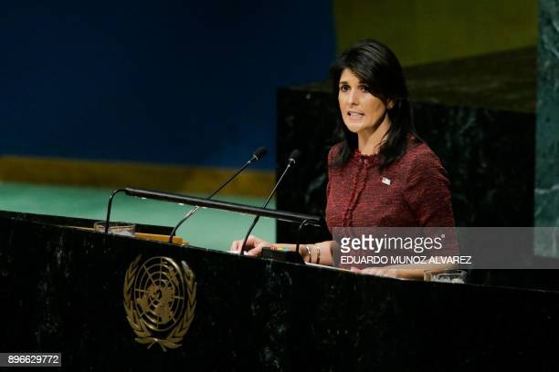 United States Ambassador to the United Nations Nikki Haley addresses the General Assembly prior to the vote on Jerusalem on December 21 at UN...