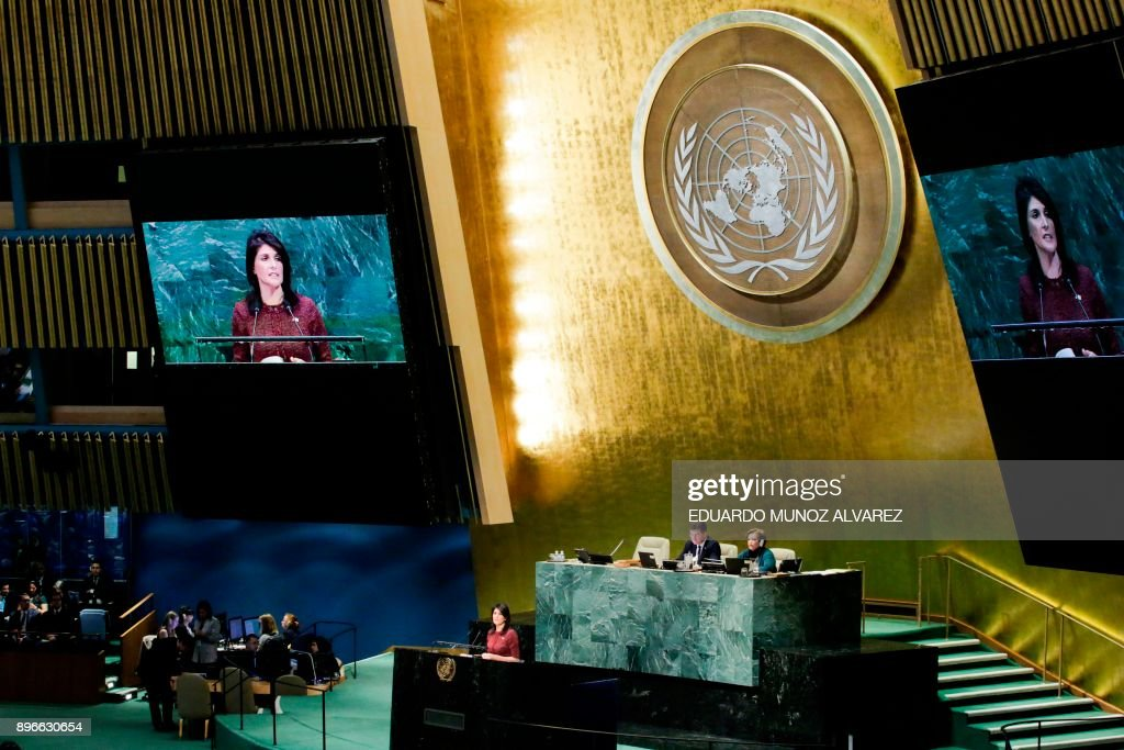United States Ambassador to the United Nations, Nikki Haley, addresses the General Assembly prior to the vote on Jerusalem, on December 21, 2017, at UN Headquarters in New York. UN member-states were poised to vote on a motion rejecting US recognition of Jerusalem as Israel's capital, after President Donald Trump threatened to cut funding to countries that back the measure. /