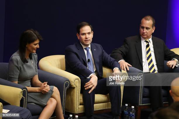 United States Ambassador to the United Nations Nikki Haley and Sen Marco Rubio and Rep Mario DiazBalart join together to speak to an audience...