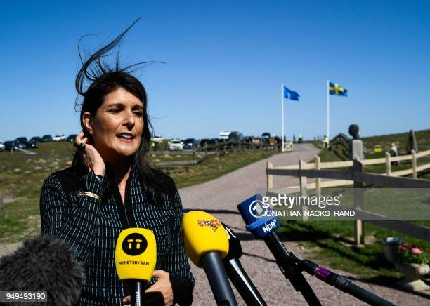 United States Ambassador to the United Nations Nikki Haley answers journalists' questions as she arrives to the annual informal working meeting with...