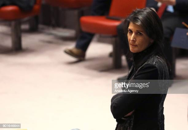 United States Ambassador to the United Nations Nikki Haley attends during United Nations Security Council session over ongoing protests in Iran on...