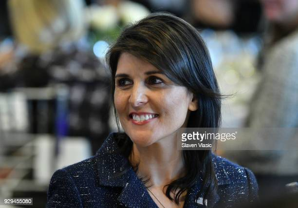 United States Ambassador to the United Nations Nikki Haley attends International Women's Day United Nations Awards Luncheon on March 8 2018 in New...