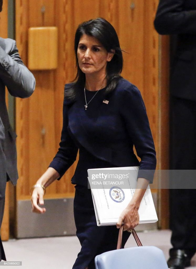 United States Ambassador to the United Nations Nikki Haley exits after a UN Security Council emergency meeting over North Korea's latest nuclear test, on September 4, 2017, at UN Headquarters in New York. The US will present a new UN sanctions resolution to punish North Korea for its sixth nuclear test and aims to put it to a vote in a week, Haley said Monday. /