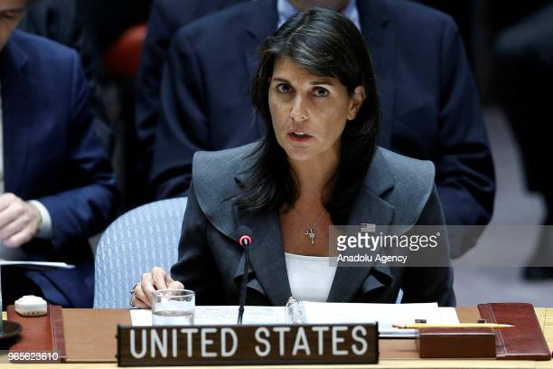 United States Ambassador to the United Nations Nikki Haley gives a speech during a Security Council meeting on the situation in the Middle East...