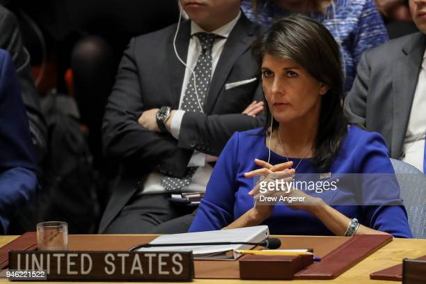 United States Ambassador to the United Nations Nikki Haley listens during a United Nations Security Council emergency meeting concerning the...