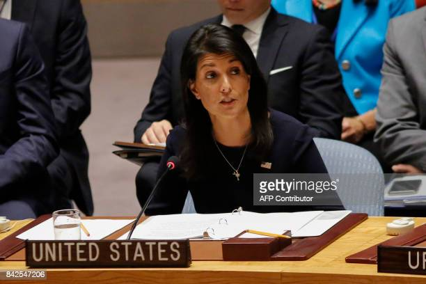 United States Ambassador to the United Nations Nikki Haley speaks during a UN Security Council emergency meeting over North Korea's latest nuclear...