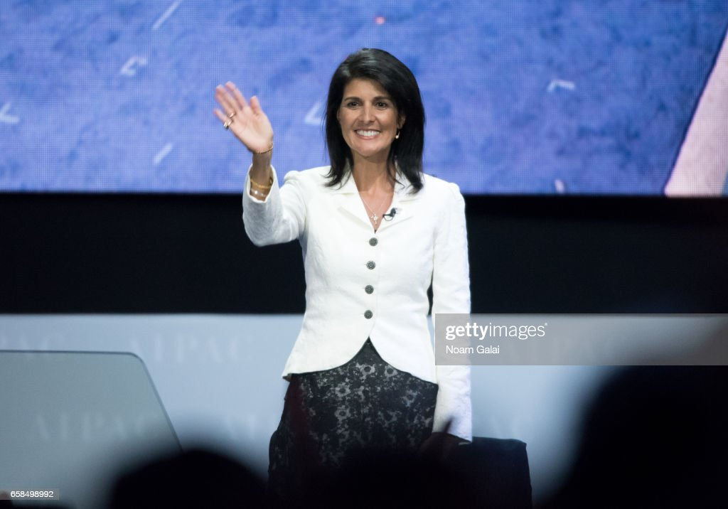 United States Ambassador to the United Nations Nikki Haley speaks onstage at the AIPAC 2017 Convention on March 27, 2017 in Washington, DC.
